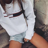White Monogram Print Round Neck Long Sleeve Casual Pullover Sweatshirt