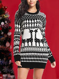 New Black Geometric Animal Draped Elk Print Round Neck Long Sleeve Casual Mini Dress