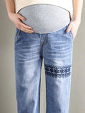 Newbabychic Embroidery Pregnant Women High Waist Denim Pants