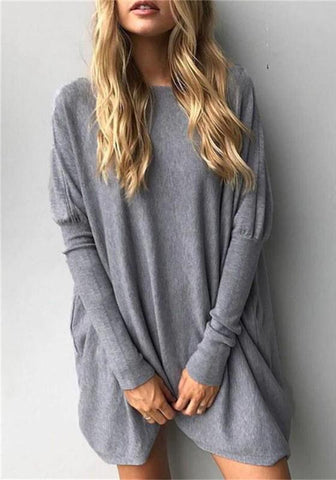 Grey Round Neck Long Sleeve Loose Casual T-Shirt