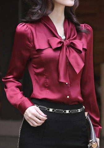 Burgundy Single Breasted Bow Peter Pan Collar Long Sleeve Elegant Blouse