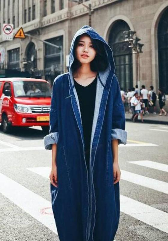Blue Long Sleeve Boyfriend Hooded Denim Long Coat