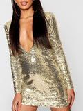Golden Patchwork Sequin Skinny V-neck Party Mini Dress