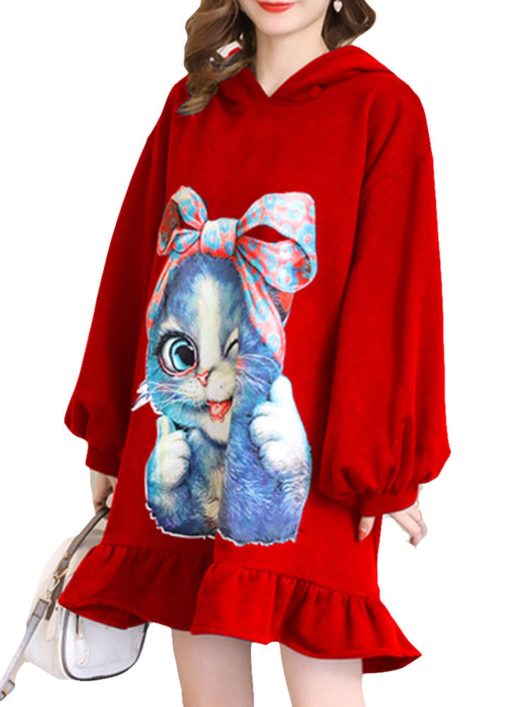 Cartoon Print Maternity Long Sleeve Hooded Dress