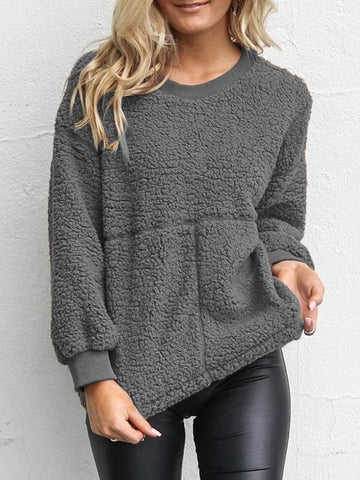 New Grey Long Sleeve Round Neck Casual Sweet Going out Sweatshirt