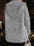 Grey Faux Fur Turndown Collar Hooded Casual Teddy Winter Cardigan Coat