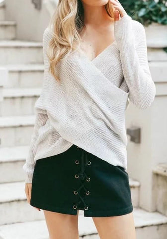 Grey-White Cross Irregular V-neck Long Sleeve Fashion Pullover Sweater