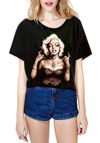 Black 3D Marilyn Monroe Print Round Neck Short Sleeve Casual Crop T-Shirt