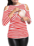Newbabychic Striped Maternity Off Shoulder Nursing Tops