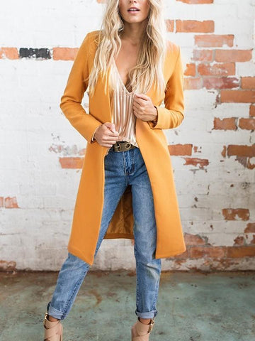 Orange V-neck Long Sleeve Fashion Dacron Wool Coat
