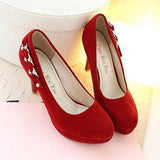 Red Round Toe Stiletto Rhinestone Fashion High-Heeled Shoes