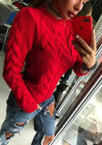 Red Draped Round Neck Long Sleeve Sweet Pullover Sweater