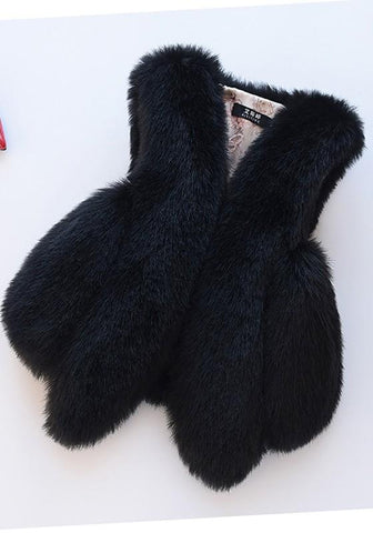 Black Irregular V-neck Sleeveless Fashion Fur Vest Coat