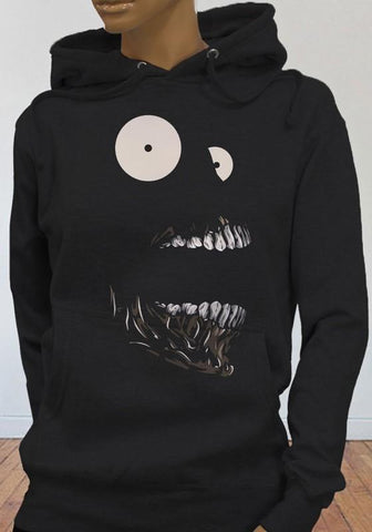Black Skull Drawstring Hooded Pockets Print Long Sleeve Cute Fashion Sweatshirt