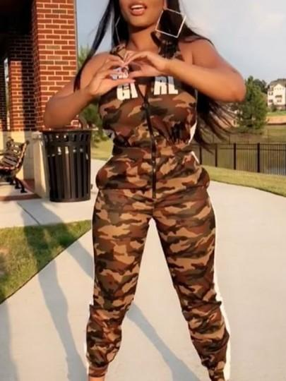 "Camouflage ""BABY GIRL"" Print Zipper Pockets High Waisted Casual Long Jumpsuit"