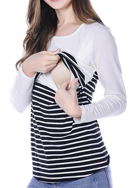 White Striped Round Neck Long Sleeve Breastfeeding Sweatshirt