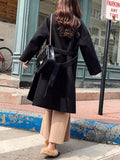 New Black Belt Pockets Turndown Collar Long Sleeve Fashion Outerwear