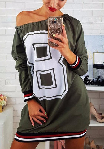New Army Green Striped Print Round Neck Casual Mini Dress