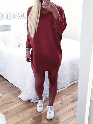 Burgundy Round Neck Long Sleeve Casual Mini Dress