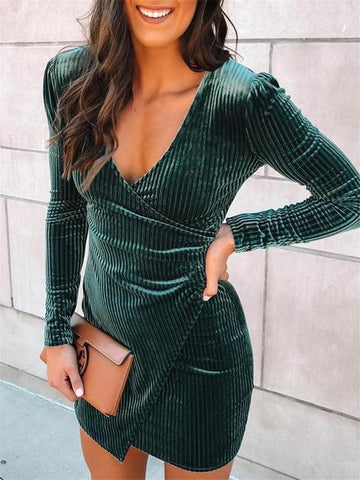 New Green Tiered V-neck Long Sleeve Fashion Mini Dress