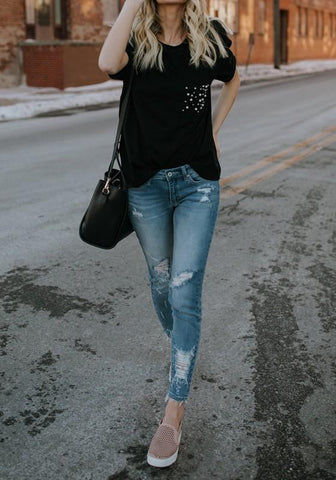 Black Beading Beaded Pockets Going out Casual T-Shirt