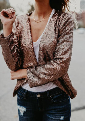 Golden Patchwork Sequin Irregular No Button Fashion Coat