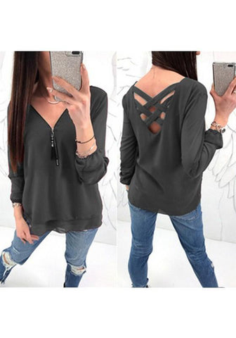 Dark Grey Zipper Cut Out V-neck Long Sleeve Casual T-Shirt
