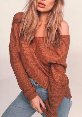 Brown Cross Irregular V-neck Long Sleeve Fashion Pullover Sweater