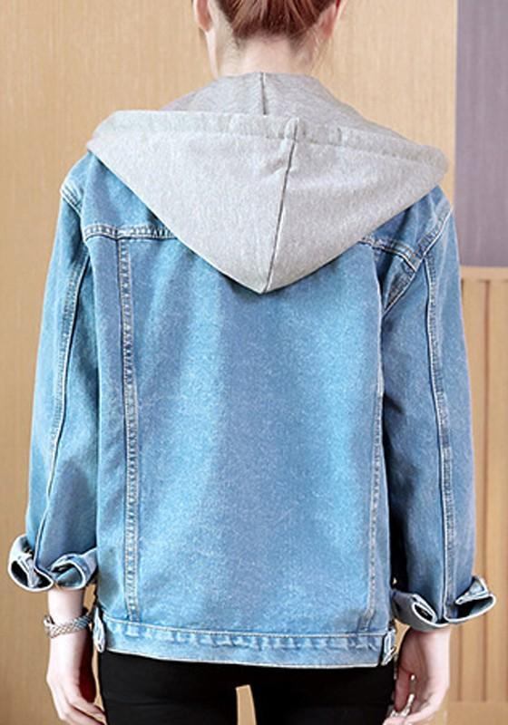 Blue Buttons Pockets Drawstring Turndown Collar Boyfriend Casual Cardigan Coat