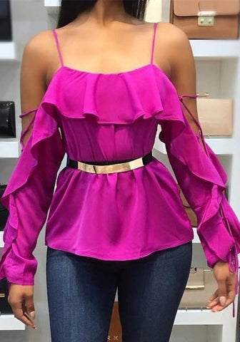 Purple Peplum Off Shoulder Ruffle Spaghetti Strap Drawstring Sweet Blouse