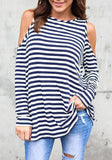 White-Blue Striped Cut Out Off Shoulder Long Sleeve Casual T-Shirt