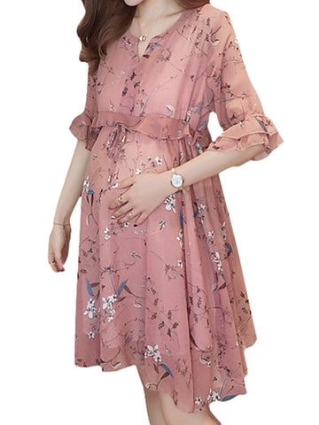 Newbabychic Summer Floral Ruffles Maternity Casual Dress Chiffon Stitching Pregnant Women Clothes