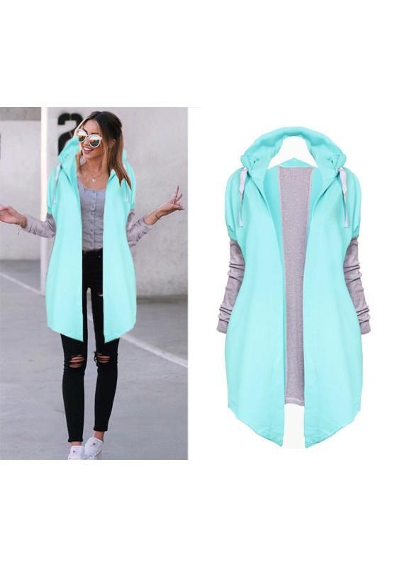 Blue-Green Patchwork Drawstring Long Sleeve Hooded Fashion Coat