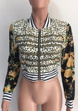 Yellow-Black Leopard Print Zipper Band Collar Long Sleeve Fashion Coat