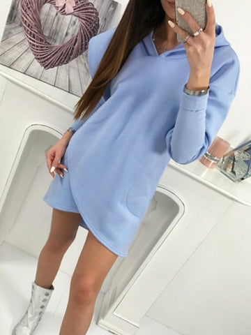 Blue Plain Irregular Hooded Going out Casual Mini Dress