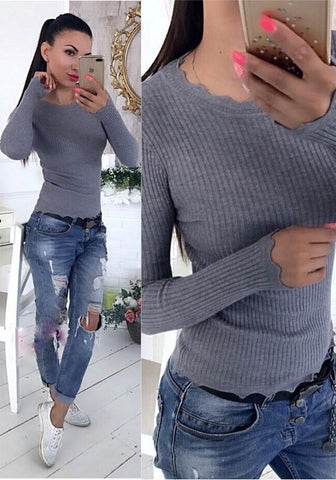 Grey Wavy Edge Draped Round Neck Casual Pullover Sweater