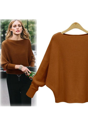 Camel Round Neck Dolman Sleeve Fashion Pullover Sweater