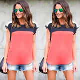 Red Patchwork Round Neck Short Sleeve Fashion T-Shirt
