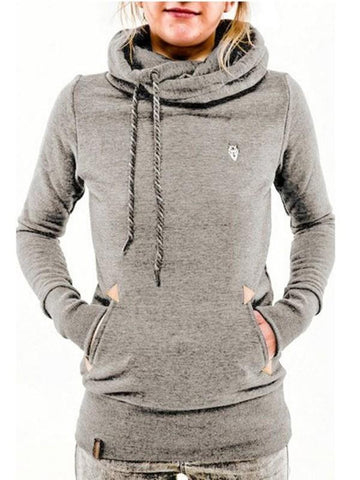 New Light Grey Drawstring Print Pockets Hooded Long Sleeve Casual Sweatshirt