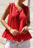 Red Polka Dot Drawstring Draped Peplum V-neck Going out Sweet Blouse