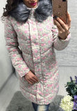 Pink Floral Pockets Cowl Neck Single Breasted Casual Coat