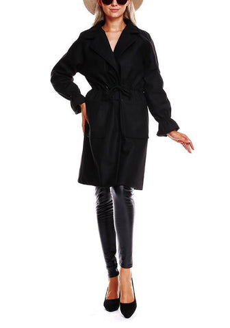 Black Plain Drawstring Pockets Turndown Collar No Button Casual Coat