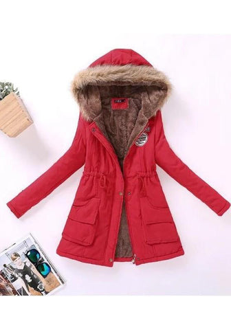 Red Patchwork Fur Collar Pockets Drawstring Zipper Long Sleeve Hooded Padded Coat