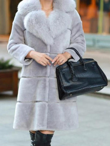 New Grey Pockets Fur Collar Long Sleeve Fashion Faux Fur Coat