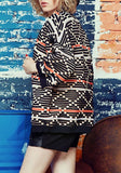 Multicolor Geometric Print Comfy Oversize Casual Coat