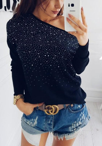 Black Patchwork Rhinestone Asymmetric Shoulder Long Sleeve Fashion T-Shirt