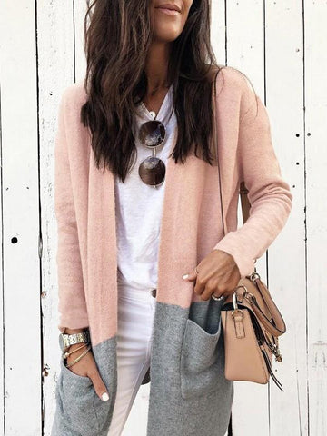 New Pink Patchwork Pockets Long Sleeve Fashion Cardigan Sweater