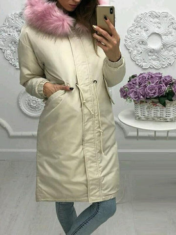 White Drawstring Zipper Pockets Long Sleeve Eiderdown Coat