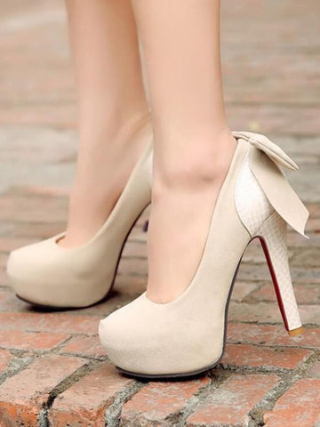 New Beige Round Toe Stiletto Bow Fashion High-Heeled Shoes