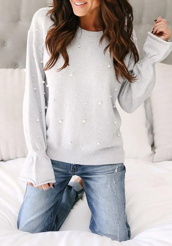Grey Patchwork Pearl Round Neck Long Sleeve Fashion Loose Pullover Sweater